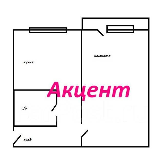 1-комнатная, улица Херсонская 12. Чуркин, агентство, 33 кв.м. План квартиры