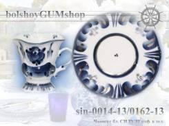 """Чашка с блюдцем """"Силуэт"""" кофейная в золоте гжель-sin-0014-13/0162-13"""