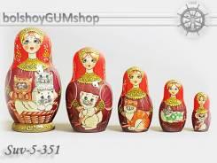 Матрешка российская (оригинал) 5 предметов 75х140 - suv-5-351