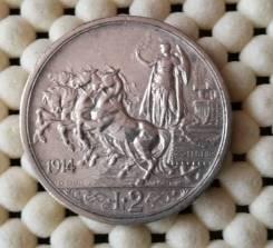 Италия 2 лиры 1914г Ag835 10,0гр