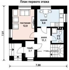 Проект для строительства коттеджа 77м2 с 4 жилыми комнатами