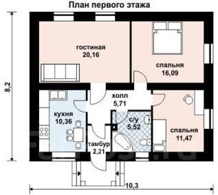 Проект для строительства коттеджа 71м2 с 3 жилыми комнатами