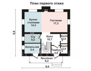 Проект для строительства коттеджа 120м2 с 4 жилыми комнатами