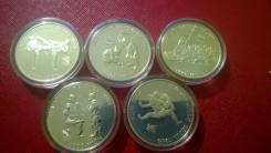 5000 вон Олимпиада в Корее , Сеул.1988 год - 5 монет Серебро.