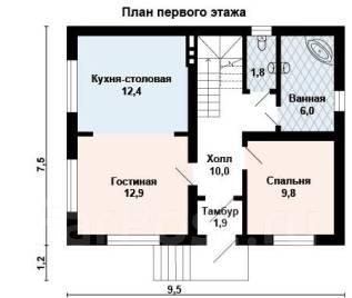 Проект для строительства коттеджа 111м2 с 6 жилыми комнатами