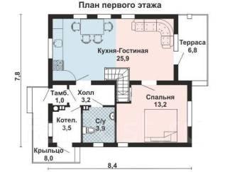 Проект для строительства коттеджа 102м2 с 4 жилыми комнатами