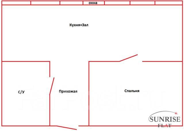 1-комнатная, улица Жигура 26. Третья рабочая, 39кв.м. План квартиры