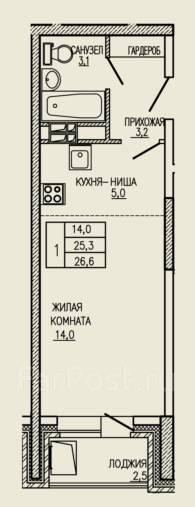 1-комнатная, улица Ватутина 33. 64, 71 микрорайоны, застройщик, 26кв.м. План квартиры