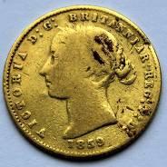 Одна вторая соверена. Виктория. Австралия. 1859г. Золото 917 пробы.