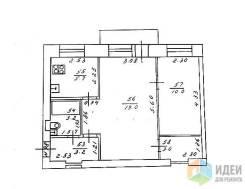 2-комнатная, улица 40 лет ВЛКСМ 11. Трудовая, частное лицо, 41кв.м. План квартиры