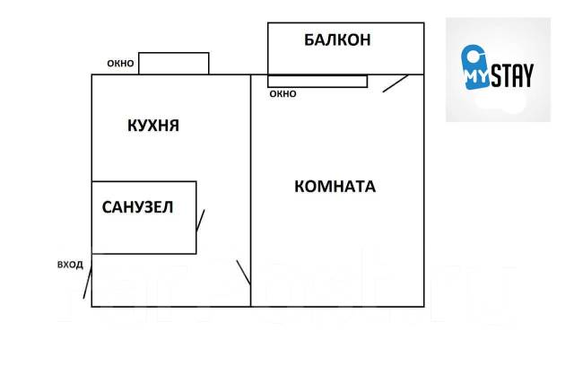 1-комнатная, проспект Океанский 102. Первая речка, 31кв.м. План квартиры