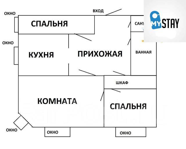 3-комнатная, улица Семеновская 30. Центр, 56кв.м. План квартиры