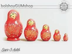 Матрешка российская (оригинал) 5 предметов 72*115 - suv-5-646 Розы