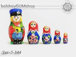 Матрешка российская (оригинал) 5 предметов 60х110 - suv-5-344 Балалаечник