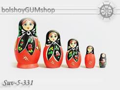 Матрешка российская (оригинал) 5 предметов 48*90 - suv-5-331 Косынка