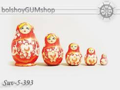 Матрешка российская (оригинал) 5 предметов 67*100 - suv-5-393-1 Красная