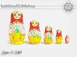Матрешка российская (оригинал) 5 предметов 48х90 - suv-5-540 Ромашки