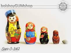 Матрешка российская (оригинал) 5 предметов 60х110 - suv-5-342 Грибник