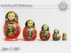 Матрешка российская (оригинал) 5 предметов 67*100 - suv-5-363 Медальон