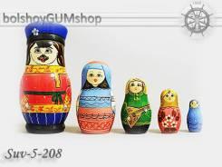 Матрешка российская (оригинал) 5 предметов 60х110 - suv-5-208 Семья
