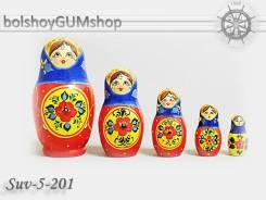 Матрешка российская (оригинал) 5 предметов 60*110 - SUV-5-201 Медальон