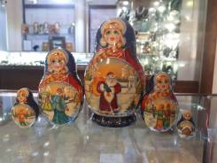 Матрешка российская (оригинал) 5 предметов 80х135 - suv-5-738 Дед Мороз