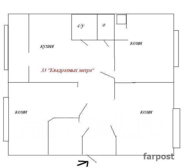 Торговое помещение на Школьной 1-я линия под любой вид деятельности во. 90 кв.м., улица Борисенко 19, р-н Борисенко. План помещения