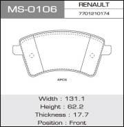 Колодки дисковые MASUMA RENAULT/KANGOO II/V1500, V1600 front (1/12) MS-0106