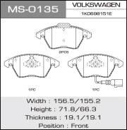 Колодки дисковые MASUMA VOLKSWAGEN/PASSAT, TOURAN/V1400, V1600, V1800, V2000 front (1/6) MS-0135