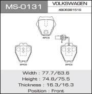 Колодки дисковые MASUMA VOLKSWAGEN/PASSAT/V1600, V2000, V2500, V2800 front (1/12) MS-0131