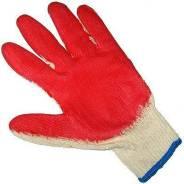 Перчатки х/б обрезиненные, красные