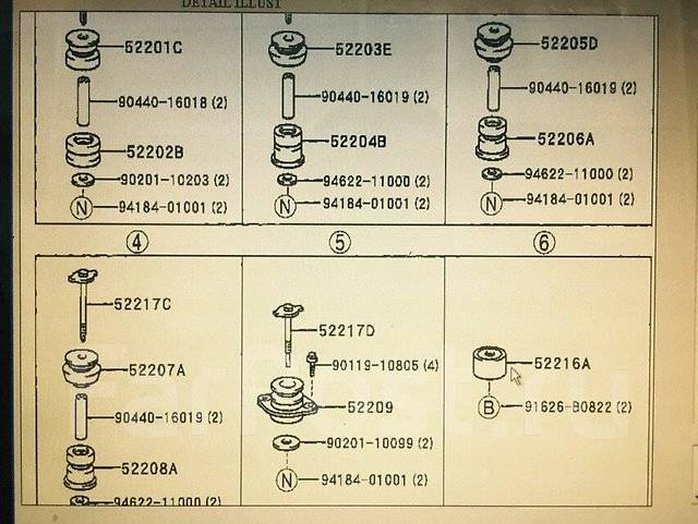 Подушка кузова. Toyota Land Cruiser, KDJ90, KDJ95, KZJ90, KZJ95, LJ90, LJ95, RZJ90, RZJ95, VZJ90, VZJ95 Toyota Hilux Surf, KDN185, KDN185W, KZN185, KZ...
