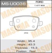 Колодки дисковые MASUMA GALAXY, KUGA, MONDEO rear (1/12) MS-U0038