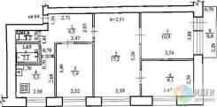 4-комнатная, улица 1-й микрорайон 21. Пожарский район, частное лицо, 62кв.м. План квартиры