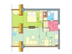 1-комнатная, улица Поселковая 2-я 3в. Чуркин, частное лицо, 40кв.м. Дизайн-проект