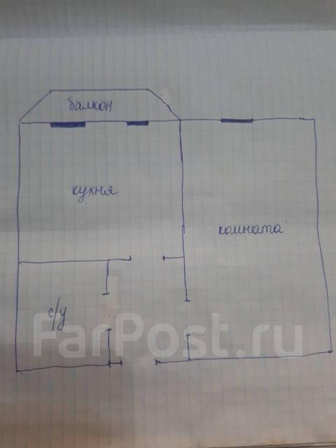 1-комнатная, проезд Новоникольский 6. 3 км, агентство, 34кв.м. План квартиры