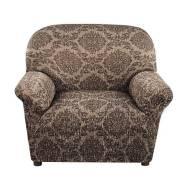 "Еврочехол ""Жаккард ламе"" Каштановый на кресло"