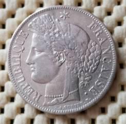 Франция 5 франков 1849г Ag900 25,0 гр. Цецера. Втора республика