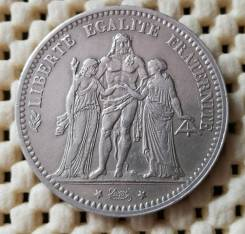 Франция 5 франков 1875г Ag900 25.0гр Геракл и нимфы