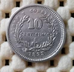 Уругвай 10 сентимо 1893г Ag900