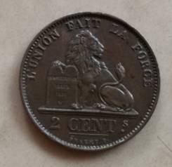 Бельгия 2 сантима 1876г AU