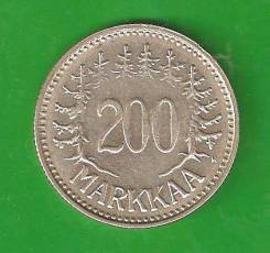 200 марок 1957 г. Финляндия. Серебро, 8,3 гр.