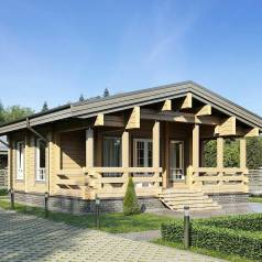 """Проект дома """"Удачный"""" Клееный брус. до 100 кв. м., 1 этаж, 3 комнаты, дерево"""