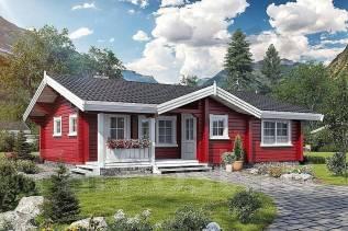"Проект дома ""Рубин"". до 100 кв. м., 1 этаж, 3 комнаты, дерево"