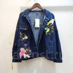 Куртка женская модная джинсовая с мехом на пуговицах 44-48 размер ... 2565cb5f2665c