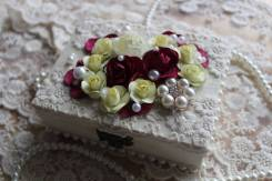 Шкатулочка для свадебных колечек, бордо