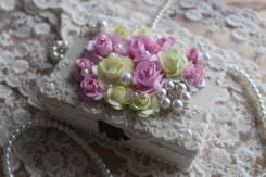 Шкатулочка для украшений, ручная работа, розовая