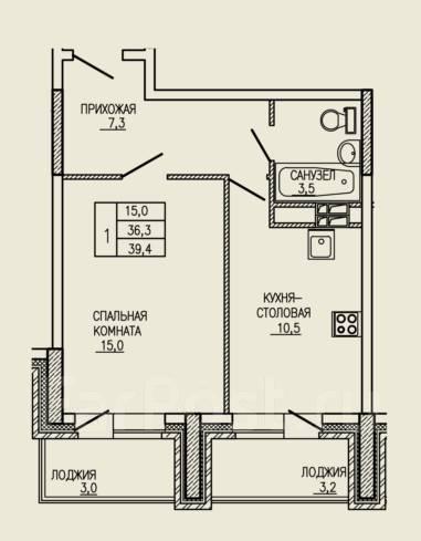 1-комнатная, улица Ватутина 33. 64, 71 микрорайоны, застройщик, 39кв.м. План квартиры