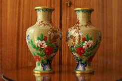 Вазы антикварные парные в технике клуазоне (Китай, середина XX века). Оригинал
