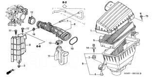 Патрубок воздухозаборника. Honda Saber, UA4, UA5 Honda Inspire, UA4, UA5 Двигатели: J25A, J32A